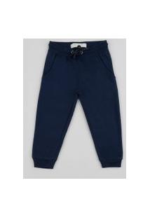 Calça De Moletom Infantil Com Bolsos Azul Marinho
