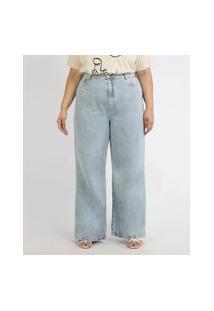 Calça Jeans Feminina Mindset Plus Size Wide Reta Cintura Super Alta Azul Claro