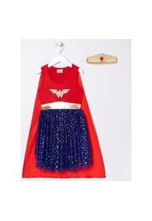 Vestido Infantil Fantasia Mulher Maravilha Com Tiara - Tam 5 A 14 Anos | Dc Comics | Vermelho | 02