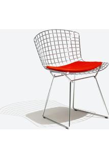 Cadeira Bertoia Inox Tecido Sintético Bordô Dt 01022812