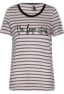 Camisetas Khelf Camiseta Feminina Listras Bege