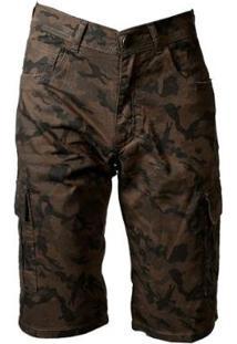 Bermuda De Sarja Militar Fashion Masculina - Masculino-Verde
