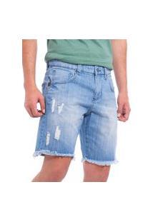 Bermuda John John Masculina Jeans Denim Full Ripped Azul Claro
