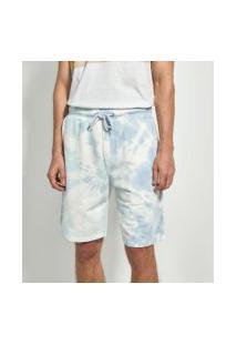 Bermuda Moletom Tie Dye | Blue Steel | Branco | Pp