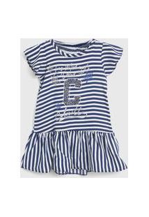 Vestido Colorittá Infantil Listrado Azul-Marinho/Branco