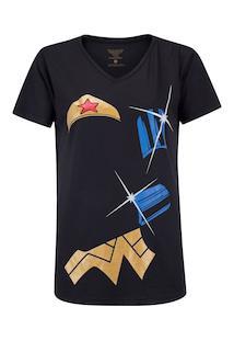 Camiseta Liga Da Justiça Mulher Maravilha Bracelete - Feminina - Preto