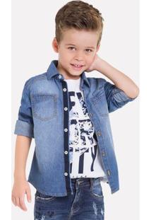 Camisa Jeans Infantil Masculina Milon 11840.Jeans.10