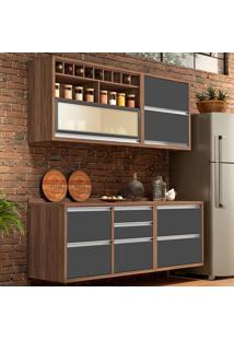 Cozinha Compacta Baronesa 5 Pt 5 Gv Grafite E Marrom