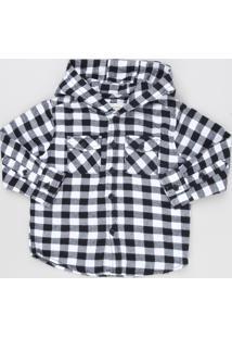 Camisa Infantil Xadrez Em Flanela Com Capuz Manga Longa Preta