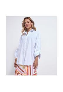 Camisa Alongada Em Algodão Com Cava Deslocada | Marfinno | Branco | Pp