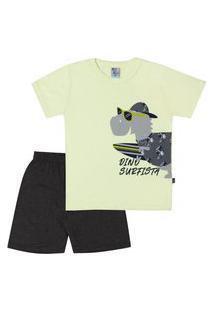 Pijama Meia Malha - 46551-1182 - (1 A 3 Anos) Pijama Amarelo Lumi - Primeiros Passos Menino Meia Malha Ref:46551-1182-1