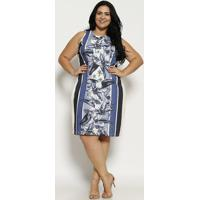 2bbfb647e8 Privalia. Vestido Canelado Floral   Listrado - Off White   Azul