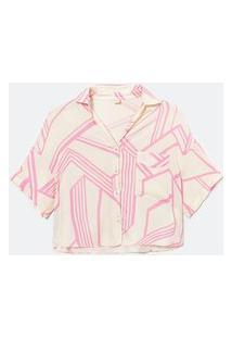 Camisa Maga Curta Plano C/ Malha Estampa Geometrica | Marfinno | Rosa | Gg