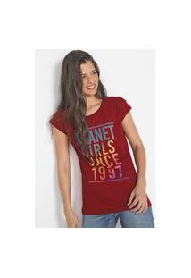 Camiseta Planet Girls Lettering Vinho