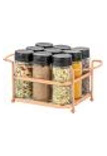 Porta Temperos Condimentos 9 Potes De Vidro Organizador Suporte Rose Gold