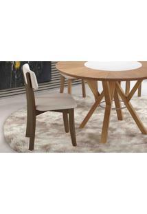 Cadeira De Jantar Estofada Boni - Verniz Capuccino - Tec.156B Off White - 42X49X82 Cm