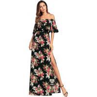 8c9ed8717c Chic Best. Vestido Longo Com Fenda Estampa Floral Ombro ...