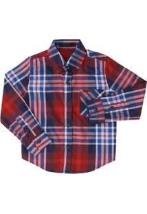 Camisa Manga Longa Infantil Tassa Xadrez Masculina - Masculino-Vermelho