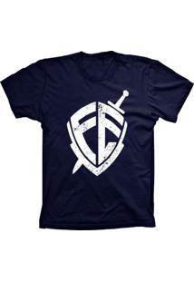 Camiseta Baby Look Lu Geek Escudo Da Fé Azul Marinho