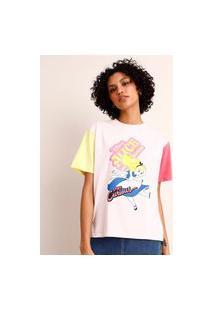 Camiseta De Algodão Alice No País Das Maravilhas Manga Curta Decote Redondo Lilás