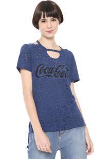 Camiseta Coca-Cola Jeans Devorê Mullet Azul