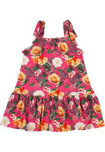 Vestido Infantil De Alça Malha Estampa Digital Tropical - Pink 3