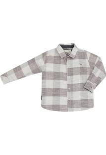 Camisa Masculino Infantil Manga Longa Listra - Masculino-Cinza
