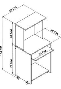 Mesa Para Computador Hecol Móveis Avelã Tx/Ônix Tx