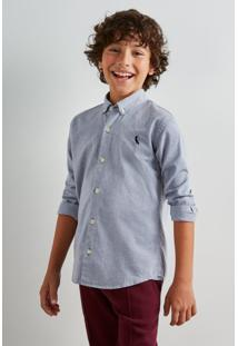 Camisa Mini Oxford Ml Reserva Mini Azul Marinho - Kanui