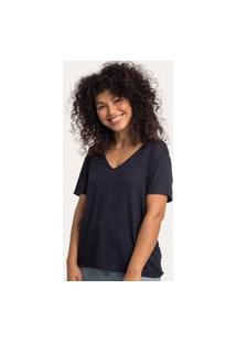 Camiseta Decote V Ampla Viscolinho Preta Preto