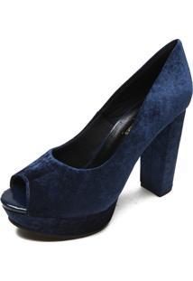Peep Toe Veludo Dafiti Shoes Salto Azul