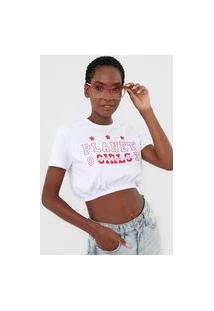 Camiseta Cropped Planet Girls Lettering Branca