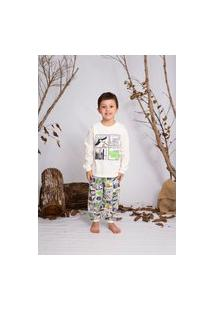 Pijama Moletinho Brilha No Escuro Super Saurus - Dadomile Multicolorido