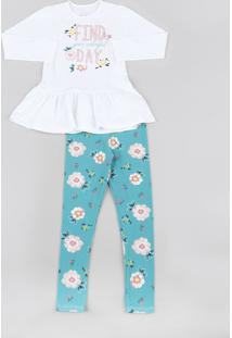 Conjunto Infantil De Blusa Floral Manga Longa Off White + Calça Legging Infantil Estampada Floral Verde Água