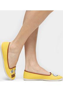 Sapatilha Moleca Slipper Patch - Feminino-Amarelo