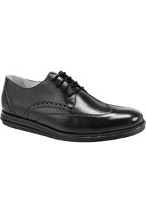 Sapato Social Couro Sandro & Co.Derby Masculino - Masculino-Preto