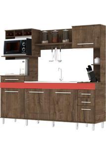 Cozinha Compacta Móveis Primavera Spazio Cs143 4 Portas 3 Gavetas Vecchio/Vermelho