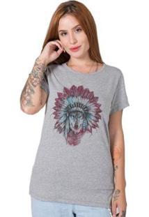 Camiseta Feminina Stoned Indian Wolf - Feminino-Cinza