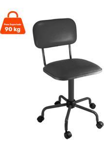 Cadeira De Escritório Secretária Color Fixa Corano Preto