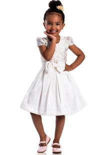 Vestido Festa Infantil Serelepe Cetim Creme