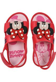 Sandália Infantil Grendene Mickey Minnie Feminina - Feminino-Vermelho+Rosa