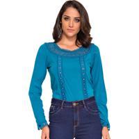 Blusa Azul Turquesa Feminina Shoes4you