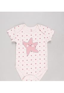 Body Infantil Estrela Do Mar Estampado Manga Curta Rosê