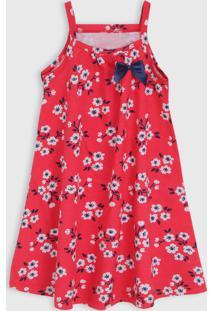 Vestido Kyly Infantil Floral Vermelho