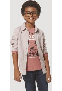 Camisa Infantil Menino Oxford Com Bolso Hering Kids