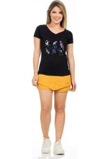Camiseta Clara Arruda Baby Look Gola V Feminina - Feminino-Preto