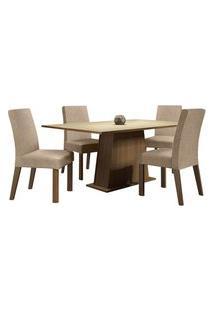 Conjunto Sala De Jantar Madesa Flavia Mesa Tampo De Madeira Com 4 Cadeiras Rustic/Crema/Imperial Rustic