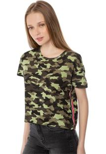 T-Shirt Cropped Camuflada Pop Me Verde.