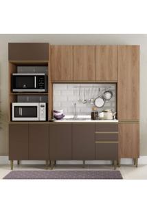 Cozinha Completa 4 Peças 11 Portas Com Paneleiro Be Mobiliário Madeira/Oxid