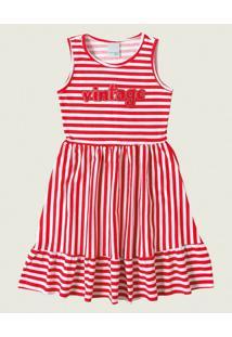 Vestido Peplum Listrado Malwee Kids Vermelho - 4